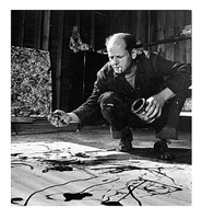 jackson pollock painting in his studio, springs, ny, 1949 by martha holmes © time inc by life photographers