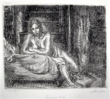 nude leaning on a chaise by john french sloan
