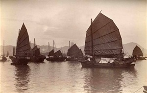 junks sailing across harbour to kowloon by john thomson