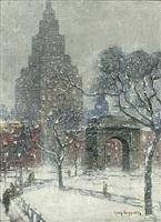 washington square, winter, new york by guy carleton wiggins