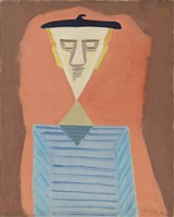 angular self-portrait by milton avery