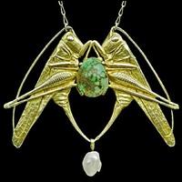 art nouveau grasshopper pendant by maurice pierre andre daurat