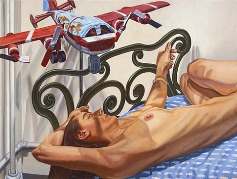 model on cast iron bed with airplane, #2 by philip pearlstein