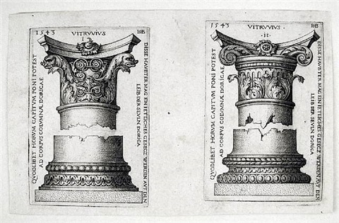 doric columns i and ii by hans sebald beham