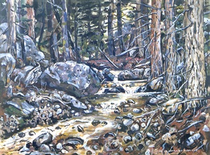 rocky stream in spring by ivan albright