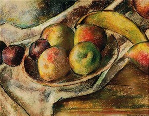apples, plums and banana by robert brackman