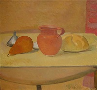 still life with pear, pitcher and roll by lennart anderson