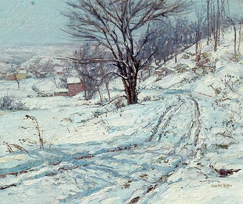 the road, winter by george william sotter