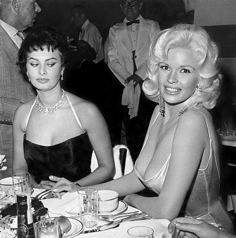 jayne mansfield and sophia loren at romanoff's in beverly hills by joe shere by hollywood photographers