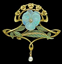 superb art nouveau pansy pendant-brooch by henri teterger
