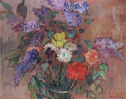 spring bouquet with lilacs by karl schrag