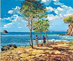 seascape with figures by derek walcott