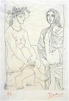 femme assise au chapeau et femme debout drapée by pablo picasso