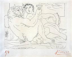 minotaure, une coupe à la main, et jeune femme by pablo picasso
