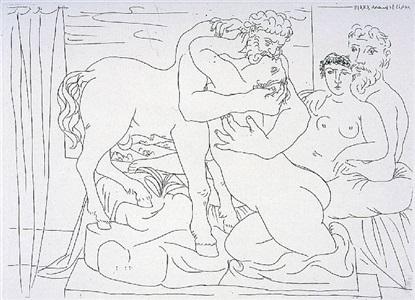 le repos du sculpteur devant un centaure et une femme by pablo picasso