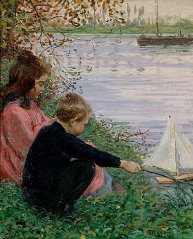enfants au bord de la rivière by léon giran-max