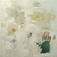 abstraction in white, green & yellow by john chin young