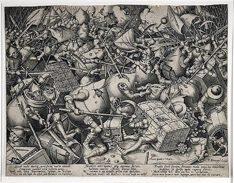 the fight of the moneybags and strongboxes by pieter brueghel the elder