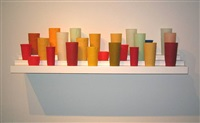 Untitled (24 Cups on a 40 inch 3 tier shelf), 2005