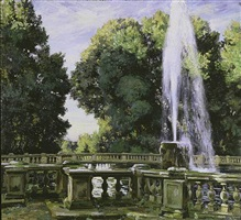 fountain at the villa torlonia, frascati, italy by wilfred gabriel de glehn