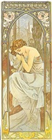 times of the day, repos de la nuit by alphonse mucha