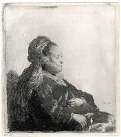 the artist's mother seated by rembrandt van rijn