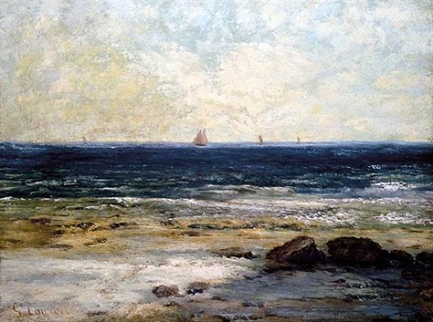 le bords de la mer à palaves <i>-sold</i> by gustave courbet
