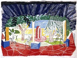 view of hotel well i by david hockney