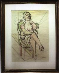 seated lady with a turban by emilio cruz