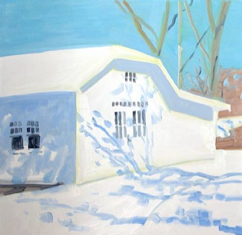 the bakery in late winter snow by lois dodd