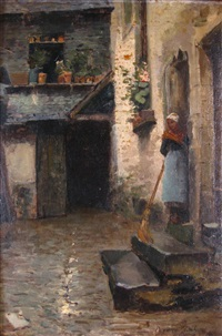 view of french street, with woman in doorway by eugene lawrence vail