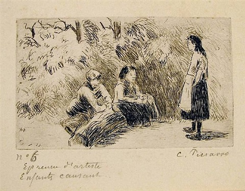 enfants causant (children talking) by camille pissarro