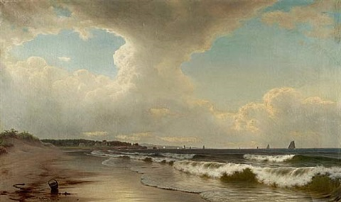 shoreline with basket and boats by william frederick de haas