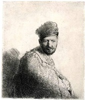 bearded man, in a furred oriental cap by rembrandt van rijn