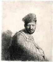 bearded man, in a furred oriental cap by rembrandt van rijn