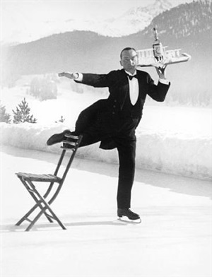 ice skating waiter, st.moritz, switzerland by alfred eisenstaedt
