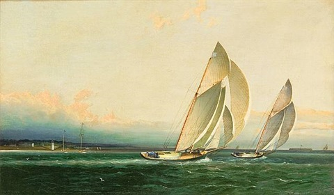 yachts racing in the upper bay by james edward buttersworth