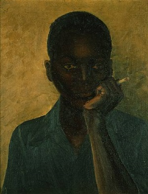 black boy smoking a cigarette, circa 1930's by james (w.o.) thompson