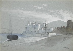conway castle by thomas moran