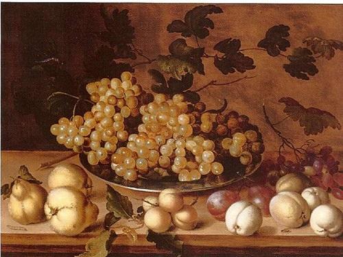 nature morte, pêches, prunes, poires et raisins by balthasar van der ast
