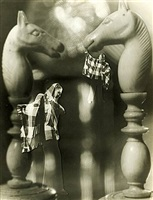 photomontage with chess pieces and woman by françois kollar