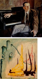 a portrait of a gentleman at the piano by clyfford still