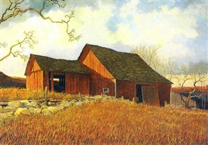 the red barn, circa 1960's by eric sloane
