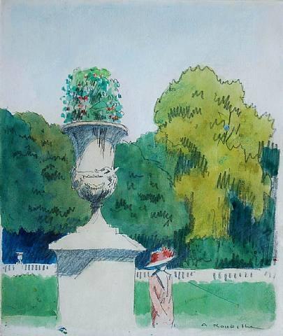 femme dans un parc by auguste jean-baptiste roubille