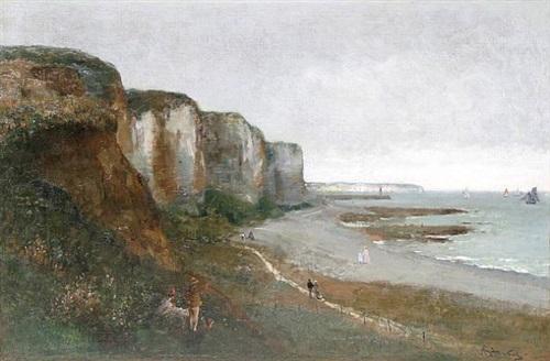 promenade au pied d'une falaise en normandie, circa 1885 by alfred stevens