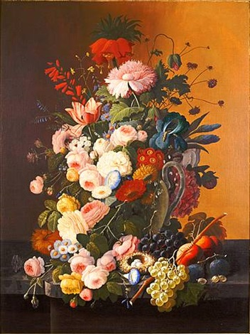 still life of bird's nest, fruits, and flowers in a glass pitcher by severin roesen