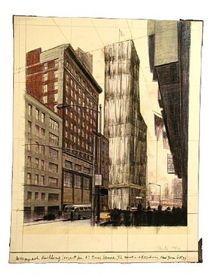 wrapped building project #1 times square by christo and jeanne-claude