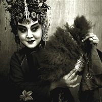 peking opera actress holding fan, beijing by liu zheng