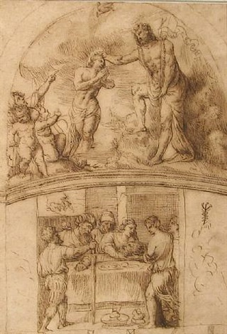 the baptism of christ and salome presenting the head of the baptist to herodias: design for the decoration of an apse by stefano dall' arzere