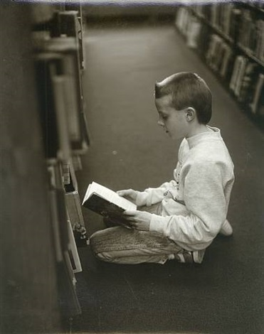 boy reading on the floor, bethlehem public library, bethlehem, pennsylvania by judith joy ross